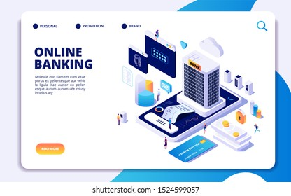 Online banking isometric landing page. Internet money transfers, secure payment smartphone paying protection. Banking concept