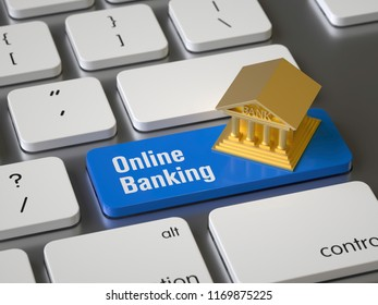 Online banking key on the keyboard, 3d rendering,conceptual image.