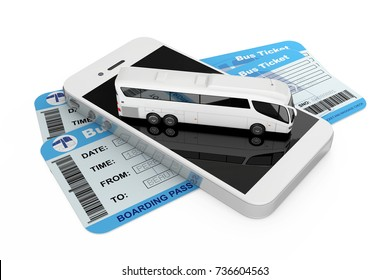Online Booking Concept. Big White Coach Tour Bus over Mobile Phone amd Bus Tickets on a white background. 3d Rendering