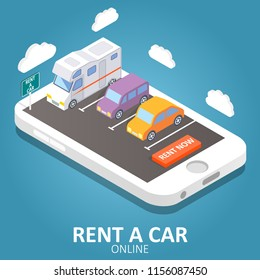 Online car rental concept isometric illustration. Smartphone with car, trailer, rent a car sign and rent now button. Mobile app design template.