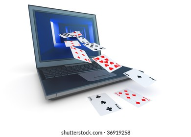 Online card game. Hi-res digitally generated image.