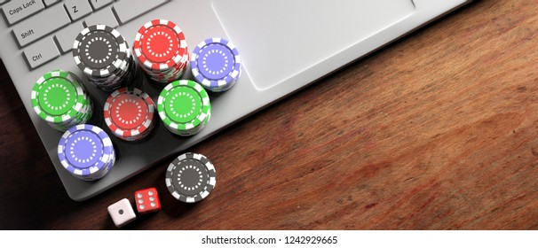 Online casino, betting concept. Poker chips and dice on computer laptop, wooden background, banner, top view, copy space. 3d illustration