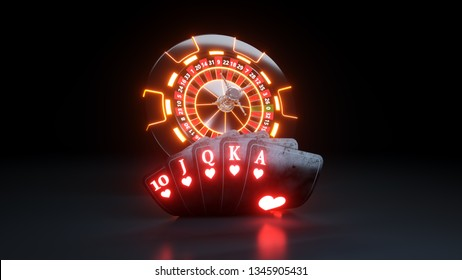 Online Casino Chips and Poker Cards Flush Royal In Hearts Concept - 3D Illustration