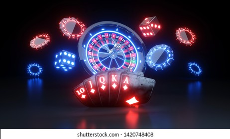 Online Casino Chips and Poker Cards Gambling Concept - 3D Illustration