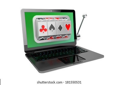 Online casino concept. Slot machine inside laptop on a white background