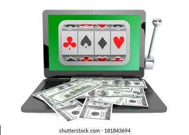 Online casino concept. Slot machine inside laptop with dollars on a white background