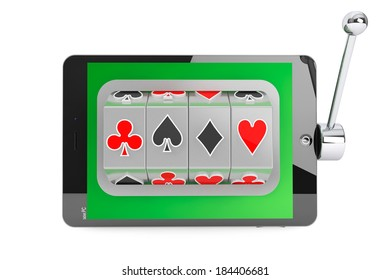 Online casino concept. Slot machine inside Tablet PC on a white background