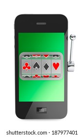 Online casino concept. Slot machine inside Mobile Phone on a white background
