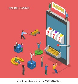 Online casino flat isometric concept. People play online slot machine and hit the jackpot.