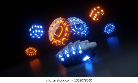 Online Casino Gambling Concept 4 Aces and Poker Chips - 3D Illustration