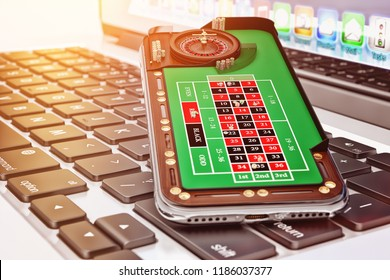 Online casino and gambling concept, mobile phone with a roulette play field on a laptop keyboard closeup, 3d illustration