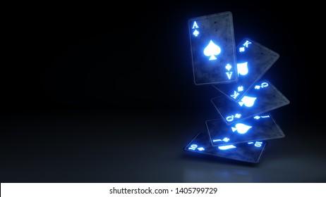 Online Casino Gambling Concept Royal Flush in Spades Poker Cards On The Black Background - 3D Illustration