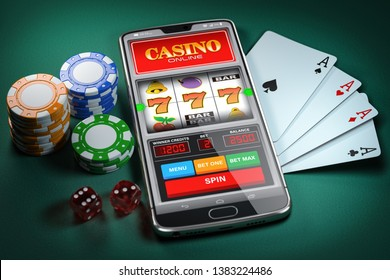 Online casino and gambling concept. Slot machine on smartphone screen, cards, dice and poker chips. 3d illustration