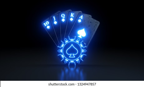 Online Casino Royal Flush in Spades Poker Cards With Neon Lights Isolated On The Black Background - 3D Illustration