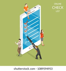 Online checklist flat isometric concept. A man with a pen is setting a check mark on the mobile phone screen.
