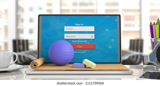 Online classes. Exercise mat and pilates ball on computer laptop, blur business office background. 3d illustration