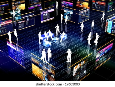 On-line community Concept or E-commerce illustrated with people doing activity and business in virtual futuristic world.