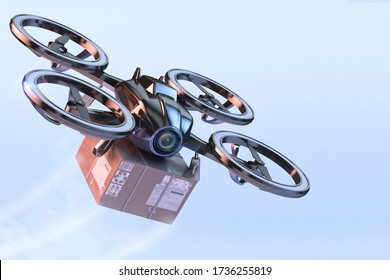 Online contactless drone delivery service during coronavirus sars-cov-2 covid-19 pandemic crisis. Safe fast delivery, autonomous logistics 3D illustration. UAV quadcopter drone delivering package box