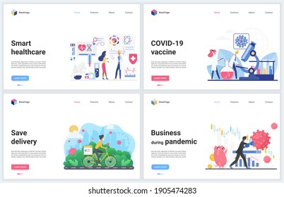 Online contactless services during quarantine concept illustrations. Cartoon flat banner set, interface website design with business or healthcare delivering support, vaccine development