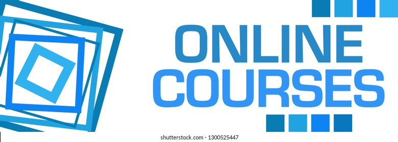 Online courses text written over blue background.