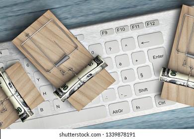 online cyber fraud concept - 3d rendering