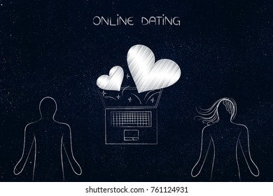 online dating concept: laptop in between two people and lovehearts flying out of it