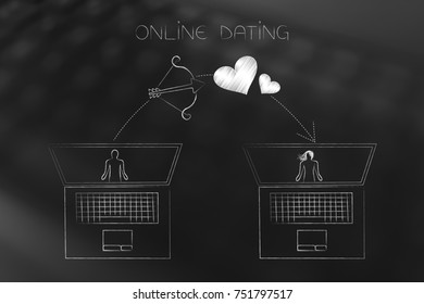 online dating website conceptual illustration: laptop with profiles on screen and lovehearts flying over them