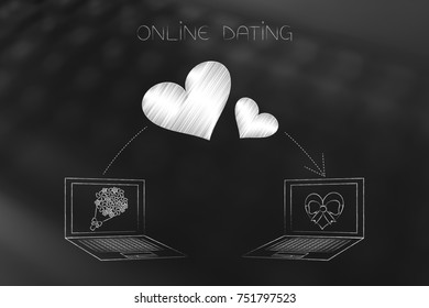 online dating website conceptual illustration: laptops with flowers and chocolates on screen and lovehearts flying over them