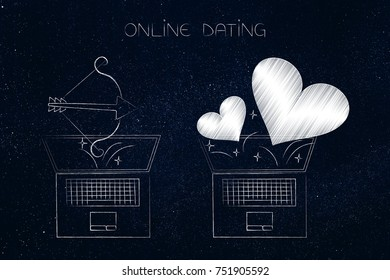 online dating website conceptual illustration: laptop with lovehearts flying out of the screen next to another with Cupid's bow