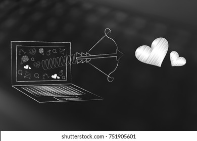 online dating website conceptual illustration: laptop with Cupid's bow and lovehearts flying out of the screen