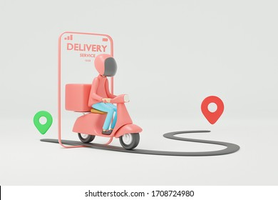 Online delivery service by motorcycle.3d render.