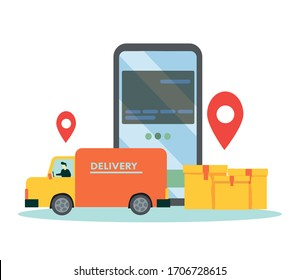 Online Delivery Service Web Banner Template. Courier on Car Delivering Parcel Box. Smartphone with Mobile App for Delivery Tracking. Smart Logistic Concept. Flat Isometric Illustration.