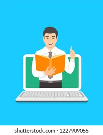 Online education concept. Young asian man teacher holds open book and lifts a finger up to share knowledge.  Cartoon illustration. Distance learning by computer. Virtual library on internet