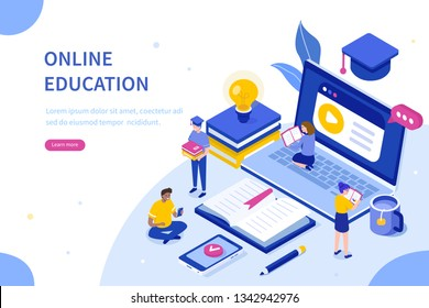 Online education and digital library concept. Can use for web banner, infographics, hero images. Flat isometric illustration isolated on white background.