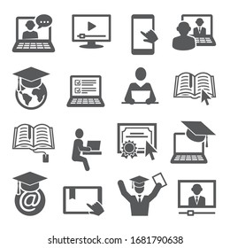 Online-Bildungs-Symbole auf weißem Hintergrund.