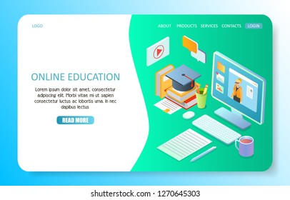 Online education landing page website template. isometric illustration. Online training courses, e-learning, distance education concept.