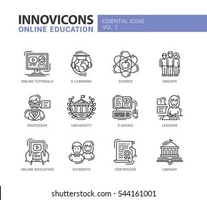 Online Education - modern education thin line flat design icons and pictograms set. E-books, university, online tutorials, science, e-learning, students, professor, group, certificate, lessons