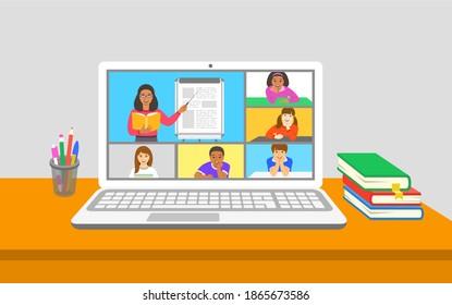 Online-Bildungskonferenz der virtuellen Klasse Kinder bleiben zu Hause und beobachten weibliche Lehrerin mit Buchpunkten zum Flipchart. Fernunterricht während der Koronavirus-Quarantäne. Schulprogramm von zu Hause aus