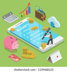 Online family budget flat isometric concept. Man is planning the family budget and write down it into the smartphone.
