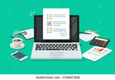 Online form survey on laptop illustration, working on computer quiz exam paper sheet document, on-line questionnaire results on desktop table flat cartoon, digital check list or internet test image