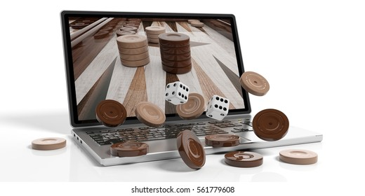 Online gambling concept.  Backgammon out of a laptop screen, isolated on white background. 3d illustration