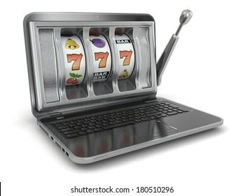 Online gambling concept. Laptop slot machine. 3d
