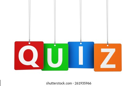 Online gaming, Internet and blog concept with quiz word and sign on colorful hanged tags isolated on white background.