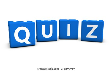 Online gaming, Internet and blog concept with quiz word and sign on blue cubes isolated on white background.