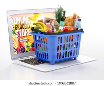 Online grocery store order 3d illustration. Computer and supermarket basket with fresh food, fruits, vegetables, beverage. Shopping online and delivery service during coronavirus pandemic, quarantine