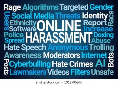 Online Harassment Word Cloud on Blue Background