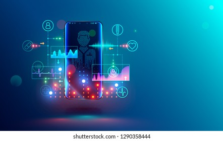 Online healthcare and medical consultation through mobile smartphone. Online virtual doctor. Phone screen with medical specialist and icons healthcare, cardiogram. Conceptual illustration.
