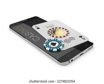 Online Internet casino app, poker card and chip on the phone, gambling casino games. 3d illustration