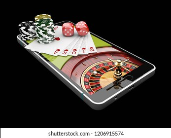 Online Internet casino app,poker cards with dice and casino chips on the phone. 3d illustration