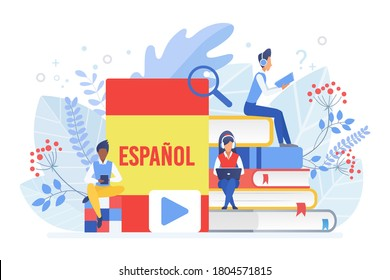 Online language courses flat illustration. Distance education, remote school, Spain university. Spanish language Internet class, e learning isolated clipart on white background.
